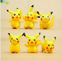 Cheap 6pcs set Poke go Pikachu Toys 3-4cm Multicolor New Children cartoon lovely Pikachu Charmander DIY PVC sleep Mini Model doll Toy B001