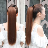Wholesale Long straight ponytails synthetic hair extension for ladies easy to wear colors available