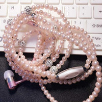audio jewelry - Fashionable Jewelry Pearl Necklace Earphones with Mic Beads mm In ear Headphone Connect to SmartPhone All mm Audio Devices Pink