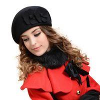 best flower deals - Best Deal New Hot Elegant Women Felt French Beret Beanie Felt Pillbox Hat Fashion Wool Warm Lady Hat with Flowers Gift PC