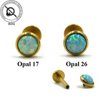 Wholesale Pieces Internal Thread g Gold Labret Monroe Stud Lip Tragus Cartilage Helix Stud Rings Earring Piercing Opal Stone