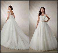 adrianna dresses - White Tulle Ball Gown Appliques Lace Wedding Dresses EG V Neck Sleeveless Beaded Waistbelt Ronald Joyce Bridal Gowns Adrianna