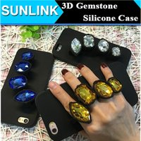 big apple diamonds - 2016 Luxury Big Gemstone Crystal Diamond Ring D Silicone Case Cover For Apple iPhone S SE S Plus Rubber Shell