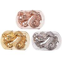 Wholesale Mens Belts Luxury Dragon Design Chinese Zodiac Belt Buckle Natural Zircons Surface High Grade Stainless Pin buckle men belt LB