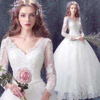 Wholesale Lace Sexy Lace Sexy Princess Bride long sleeve wedding dress spring