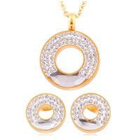 Wholesale Clear Crystal And K Gold Plated Stainless Steel Jewelry Set With Pendant Necklace and Crystal Earring For Wedding Jewelry Set