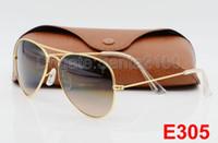 achat en gros de mens lunettes de soleil gradient brun-1pcs Objectifs Vente chaude des femmes des hommes Pilot Gradient UV400 lunettes de soleil Designer Lunettes de soleil d'or brun bleu gris 62mm verre Cases d'origine Box