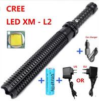 Wholesale 2016 New Arrival Powerful led flashlight CREE XM L2 self defense Patrol LED rechargeable flash light
