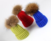 acrylic beanie burgundy - Retail fashion winter real racoon fur ball pom pom knitted beanie hat christmas cap