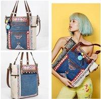 Wholesale brand new ladies handbag large capacity canvas bag embroidered denim bag Shoulder bag
