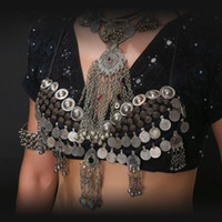 Cheap New ATS Tribal Belly Dance Bra Tops Silver Chain Tassel Metallic Studs Push Up Sequin Bra C D CUP Vintage Coins Top Gypsy Dance