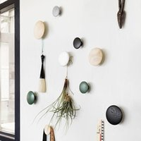 Wholesale Wall mushroom robe hooks home decoration wall hanger with nail natural oak wood circle hook key holder wall storage shelf dots rack