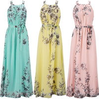Wholesale Plus Size Fashion Women s Dress Bohemian Print Floral Chiffon Dresses for women Beachwear xl Long dress