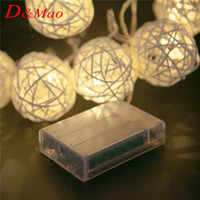 battery xmas lights - 20 LED Warm White Rattan Ball String Fairy Lights For Christmas Xmas Wedding decoration Party Hot use dry battery