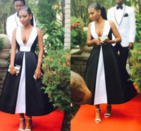 Wholesale Elegant Black And White Prom Dresses Deep V Neck Sleeveless Tea Length Evening Gowns Backless South Africa Formal Party Dresses