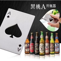 Wholesale wall mount bottle openers New Stylish Hot Sale Poker Playing Card Ace of Spades Bar Tool Soda Beer Bottle Cap Opener Gift kitchen tools