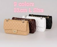 beaded bamboo - 1112 CM Women Caviar Lambskin Chain Bag Caviar Leather Double Flaps Shoulder Bag