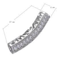 Bijoux Collier Perle Perles Spacer CZ Micro Pave Laiton Tube Courbé Platine Plaqué Creux 6x27mm Trou: Environ 3.5mm 10 PCs / Lot