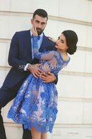 arabs pictures - Prom Dress Royal Blue Prom Dresses Long Sleeves Knee length D Floral Appliques Formal Gowns Arab Dresses