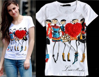 Wholesale Hot Top new famous brand women summer casual t shirt Diamond cartoon printing cotton short sleeve o neck
