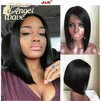 Wholesale Angelwave hair A Brazilian Virgin Hair Bob Wig Hair Styles Short Fine Hair Short Bob Wigs For Black Women Short Long Bob Cut