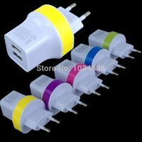 apple ipad power supply - 500Pcs Dual USB EU Plug AC Power Supply Travel Wall Adapter Charger V A A For iphone for samsung S4 S6 for ipad