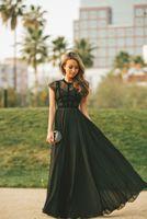 al por mayor mangas cortas vestido joya de la tarde-vestido de noche negro elegante de encaje transparente tope mangas una línea de gasa de las mujeres de la joya modesto del prom viste de largo 2016 vestidos de noche