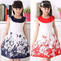 Wholesale 2015 Children Summer Clothing Girls Floral Dress Clothes Baby Sleeveless Casual Princess Dress With Doll Collar Meninas Vestir