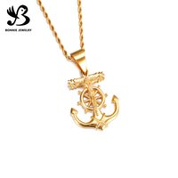 anchor pendant stainless - Gold Plating Stainless Steel Jesus Cross Anchor Helm Nautical Pendant Necklace Jewelry for Men and Women SP00857