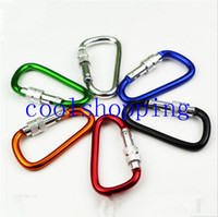 Wholesale 6 cm Outdoor Sports Travel Kits Aluminium Alloy Safety Buckle Keychain Climbing Button Carabiner Camping Hiking Hook