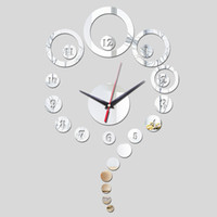 Wholesale 2016 sale new Acrylic mirror wall clock limited promotion quartz watch modern d clocks gift Decorative background painting TY1943