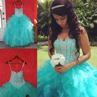 Wholesale 2016 Blue Cascading Ruffles Skirt Quinceanera Dresses Ball Gown Sweetheart Princess Crystals Prom Dresses Sweet Long Organza Party Gowns