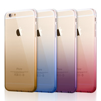 Wholesale For iPhone s Plus Covers Transparent Gradient Color Design TPU Silicon Phone Covers Shell Capa with Dust plug