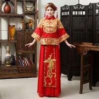 Wholesale XiuHe Suit Bride Dress Formal Dress Red Chinese Vintage Toast Chothing Cheongsam Long Sleeve Tang Suit High Quality Stand Collar