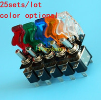 Wholesale 25sets V A Illuminated LED Toggle Switch Control ON OFF Aircraft Missile Style Flip Up Cover