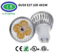 Dimmable e27 conduit 4x1w France-Lampe Led 4W GU10 E27 Dimmable LED Projecteur 3x1W Réel 4x1W GU10 E27 Bombillas Spot Lumières avec 4leds Ampoules Projecteurs Downlight