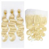 al por mayor 613 onda del cuerpo de rubia-Malasia Blonde cabello humano frontal 13x4 con 3Bundles # 613 Cuerpo onda de pelo humano con Frontales 4Pcs Lote malasio cabello con Frontales
