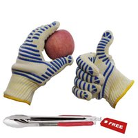 Wholesale Silicone five finger barbeque mitts heat resisitant protection grill baking cooking oven gloves Barbecue Clip free as gift