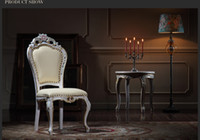 Wholesale French classic solid wood dining chair European Palace furniture with cracking paint and gold leaf gilding