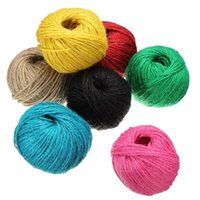 Wholesale 50M Black Blue Rose Red Red Yellow Brown GreenTwisted Burlap String Natural Ribbon Fiber Jute Twine Rope