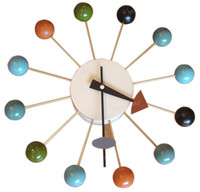 Wholesale MLF Nelson Ball Clocks Multi Color Wooden Balls Aluminum Quartz Holder