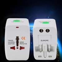 Wholesale Genuine Universal Travel Adapter Multi function Plug Dual USB UK US EU White A V W Retail Package