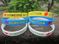awareness wristbands - 50pcs I Love Someone With Autism Autism Awareness Silicon Wristband Bracelet
