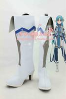 achat en gros de asuna chaussures de cosplay-Grossiste-Anime Sword Art en ligne YuuKi Asuna ALO Asuna cosplay bottes costume chaussures Custom Made Halloween Livraison gratuite