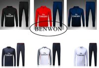 adult training pants - Benwon PSGg soccer tracksuit adult thai quality football coat long sleeve outdoor winter set Pari training long pants sports jacket