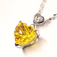 Cheap Heart 8mm Natural Amethyst Citrine Pendant with Chain 925 Sterling Silver Plated White Yellow Rose Gold Crystal Necklace Jewelry Women Gift