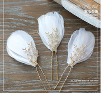 articles wedding dress - Angel elves white feather headdress Flower Pearl hair accessories by hand U hair clasp wedding tiara wedding dress the bride adorn article
