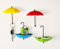 Wholesale 3 Pack Decorative Colorful Umbrella Wall Hook KEY Coin Hair Pin Holder Wall Mounted Storage Rack for Bathroom Kitchen Hallway