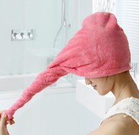absorbent hair towel - Absorbent quick drying towel dry hair cap shower cap coral cashmere Dry hair hat