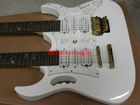 Cheap Double Neck Electric Guitar Custom white Double Neck 6 12 strings Electric Guitar The white tree of life OEM Available